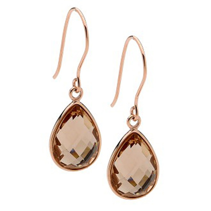 Pastiche Champagne Pear Shape Crystal Drop Earrings