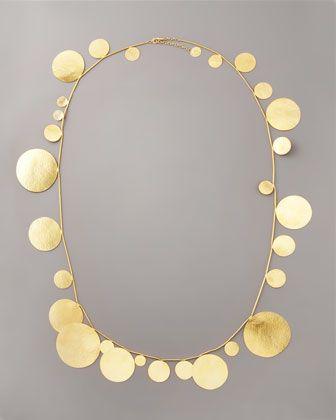 Long Disc Necklace by Herve Van Der Straeten at Bergdorf Goodman. Fun & fashion forward <3