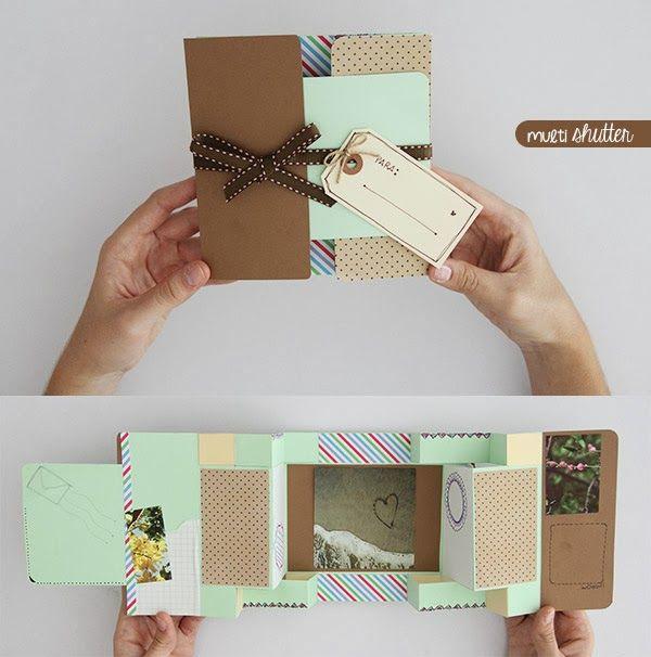 Tarjeta Multi shutter - idea · regalo · detalle Super creación scrapbook ♥ http://www.craftingeek.me/2013/09/tarjeta-multi-shutter-card-idea-regalo.html