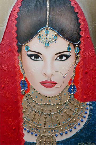 Moderne Schilderijen - Modern portrait painting Oriental Breeze