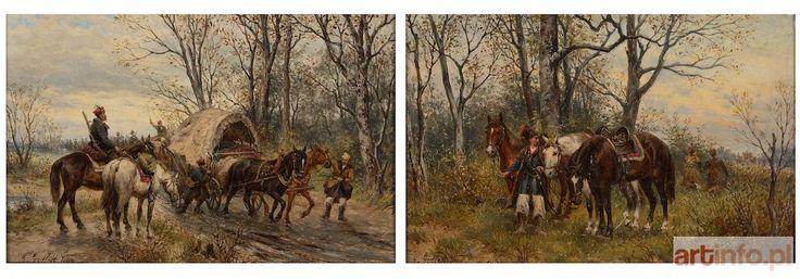 Ludwik GĘDŁEK ● DYPTYK (PATROL KOZACKI, PRZEPRAWA) ● Aukcja ● Artinfo.pl
