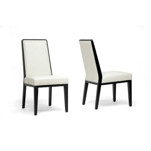 Außergewöhnlich Theia Black Wood And Cream Leather Modern Dining Chairs (Set Of 2)