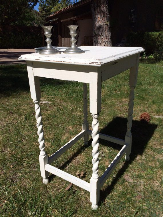 Vintage Distressed Hand Painted Oak Table, Night Stand, End Table, Foyer  Table With