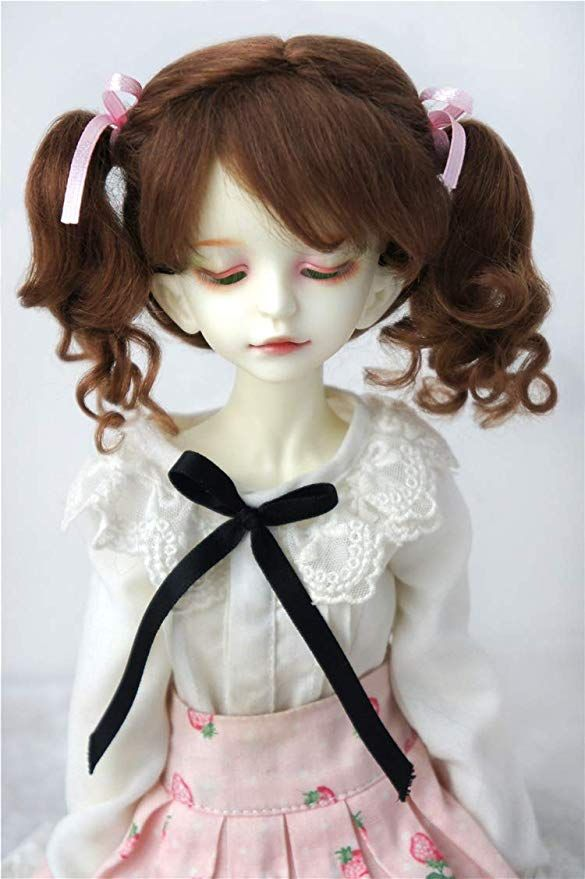7-8inch 18-20CM Beauty Fish Curly Doll Hair 1//4 MSD Synthetic Mohair BJD Wigs