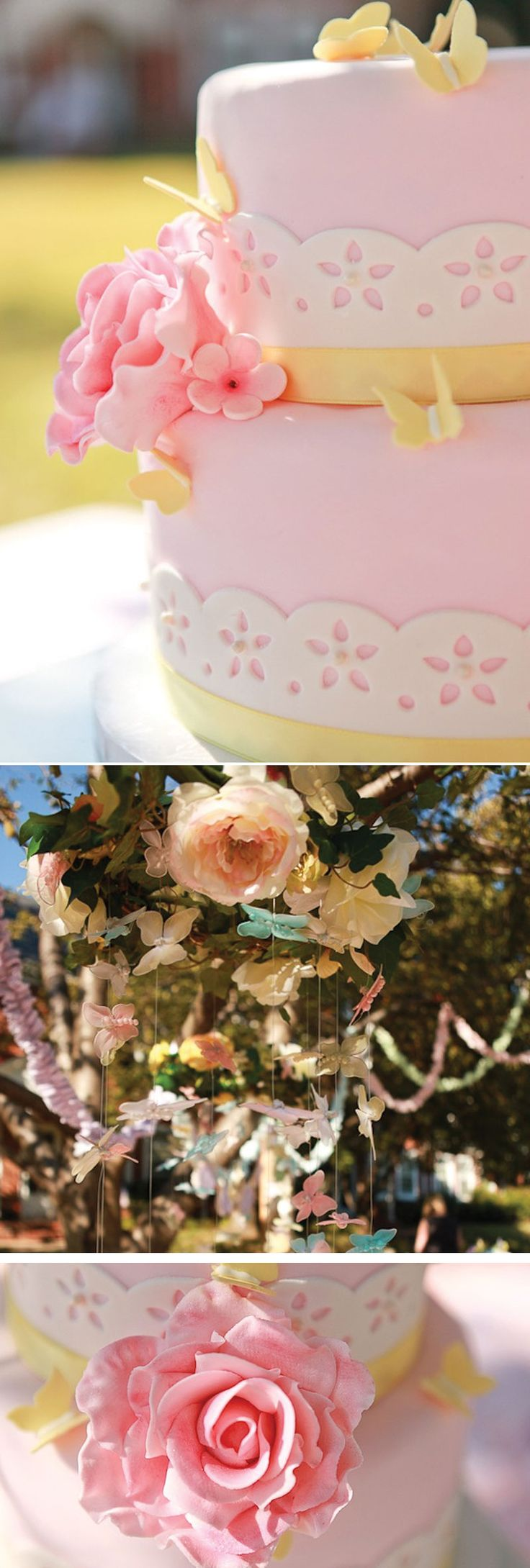 A charming Vintage Butterfly Tea Party with ruffle garland, butterfly  mobiles, butterfly printables and tea party printables.
