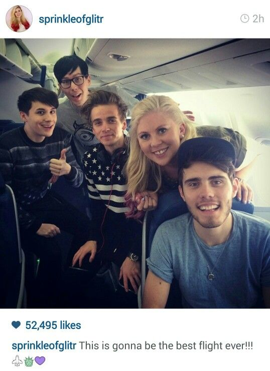 Alfie Deyes aka pointlessblog, Louise Pentland aka Sprinkleofglitter, Joe Sugg aka Thatcherjoe, Dan Howell aka Danisnotonfire and Phil Lester aka Amazingphil!!!! I would give sooooooooooo much to be on that plane with them all!!!!