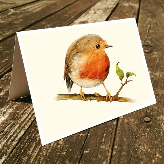 Set of 4 handmade cards - Little Robin Bird Cards, Stationary, Birds watercolor cards