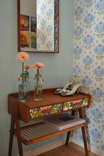 this is a beautiful piece, could try to diy with wallpaper, but where to find such a beautiful piece!