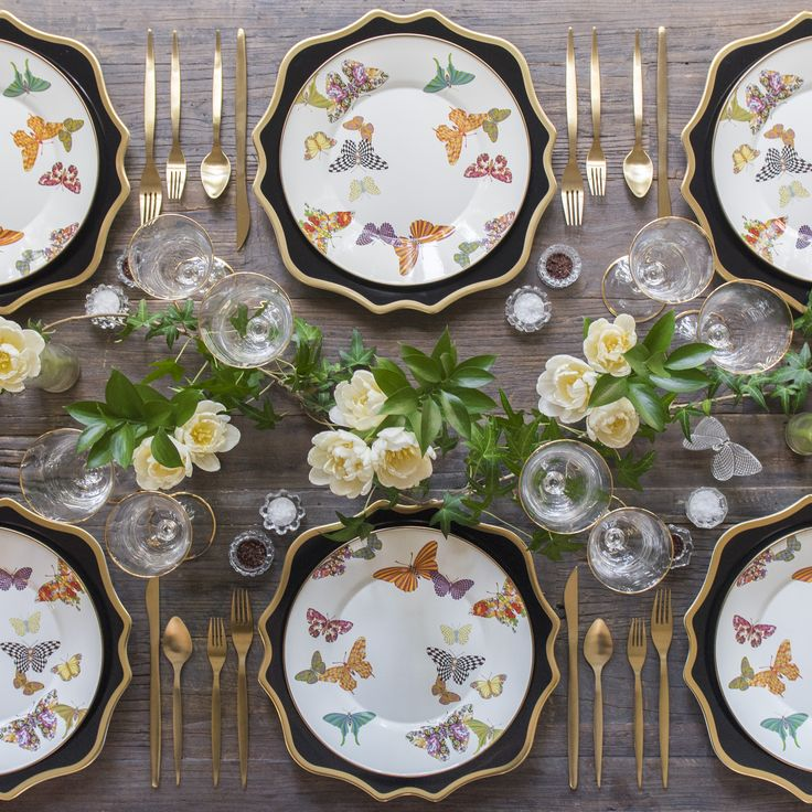 Black Anna Weatherley Chargers + MacKenzie-Childs Butterfly Garden Collection + Gold Celeste Flatware + Chloe 24k Gold Rimmed Stemware + Antique Crystal Salt Cellars [Casa de Perrin]