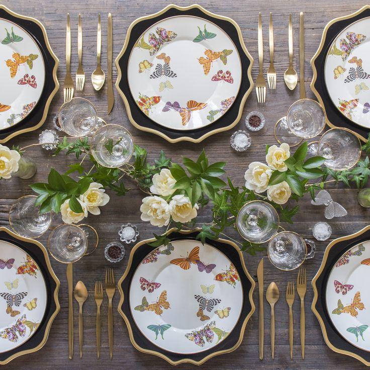 Black Anna Weatherley Chargers + MacKenzie-Childs Butterfly Garden Collection + Gold Celeste Flatware + Chloe 24k Gold Rimmed Stemware + Antique Crystal Salt Cellars [Casa de Perrin]