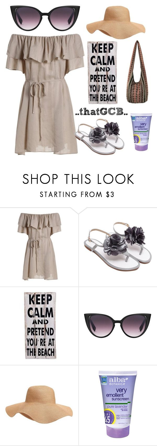 """""""..SWING dress for the beach.."""" by thatgcb ❤ liked on Polyvore featuring NOVICA, Old Navy, Alba Botanica, beachwear, beachlife, sunhat and swingdress"""