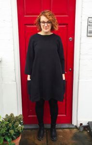 In the Folds - Rushcutter Dress - sewing pattern. made in black crepe