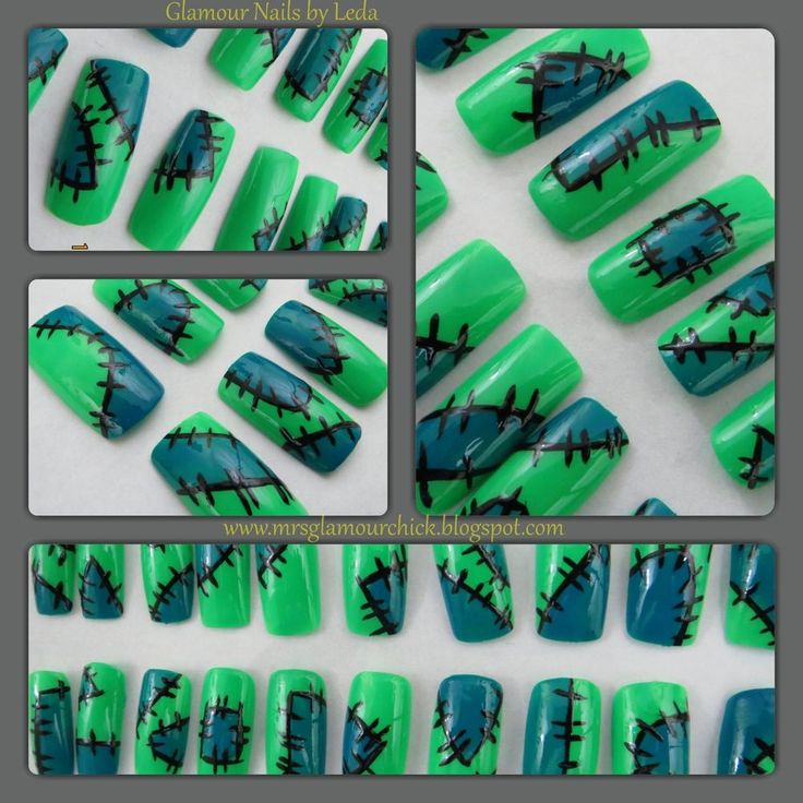 20 Square nail tips Green, Blue, Black nail art Halloween Monster ABS Plastic