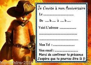 5 cartes invitation anniversaire Le chat potté 01 | eBay