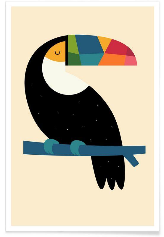 Rainbow Toucan en Affiche premium par Andy Westface | JUNIQE