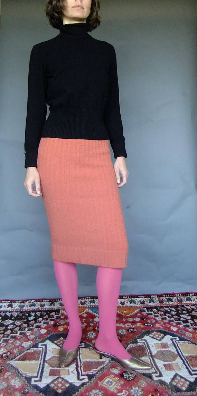 knit tube skirt wiggle skirt coral knit skirt 50s wiggle