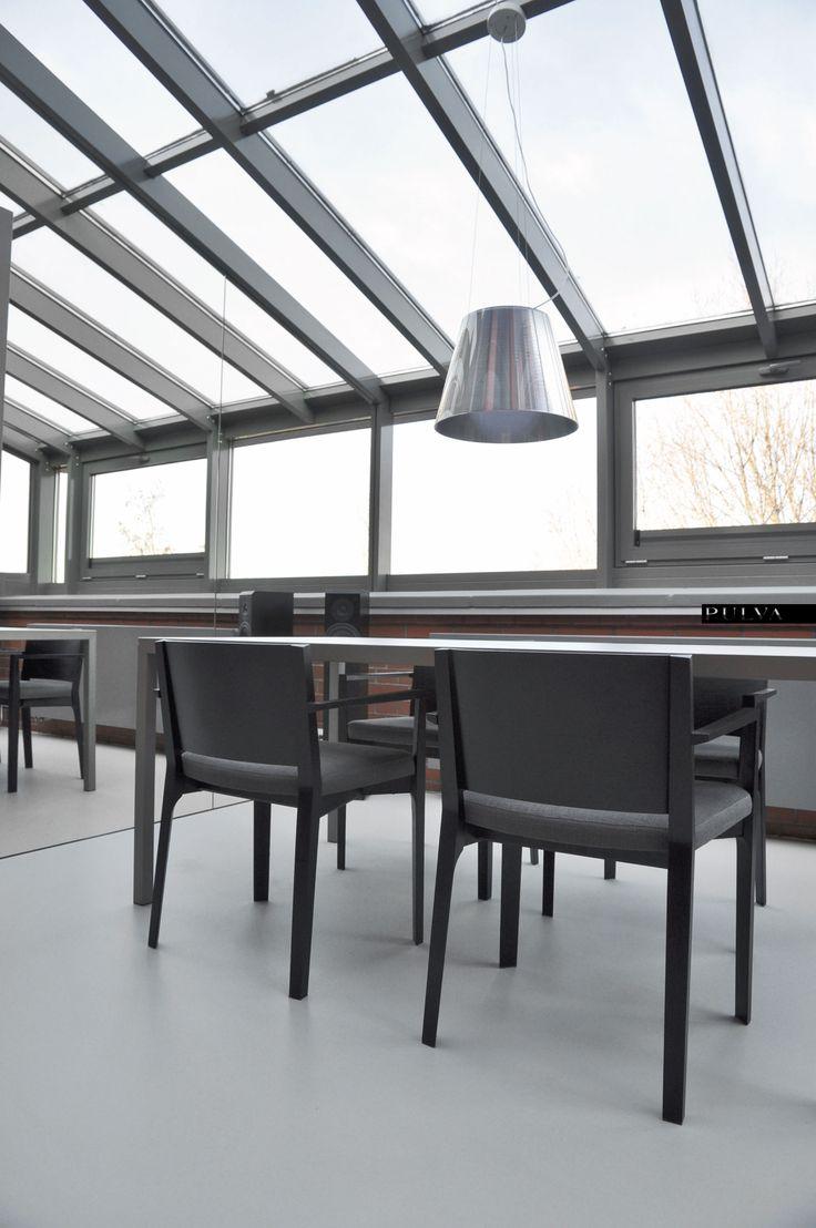 minimalistic interior design, dining room, table, MDF Italia, chair, Porro