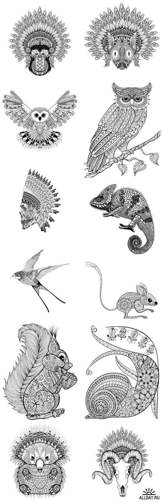 Ornamental animals. T-shirt print. Hand drawn sketch vector illustration for tattoos. Boho style, 25xEPS