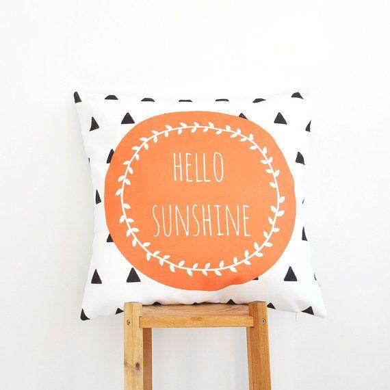 """Geometric Nursery Pillow, Decorative Pillow, Modern Kids Pillows, Orange Teen Pillow, Throw Pillow 16"""" x 16"""""""