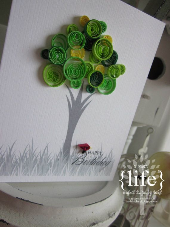 quilled spring green tree // happy birthday by APaperLifeOriginals, $9.50