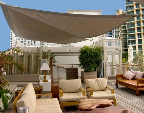 dachterrasse Sonnenschutz-aufrollbare Sonnensegel einsatzbereich Witterung beständigkeit