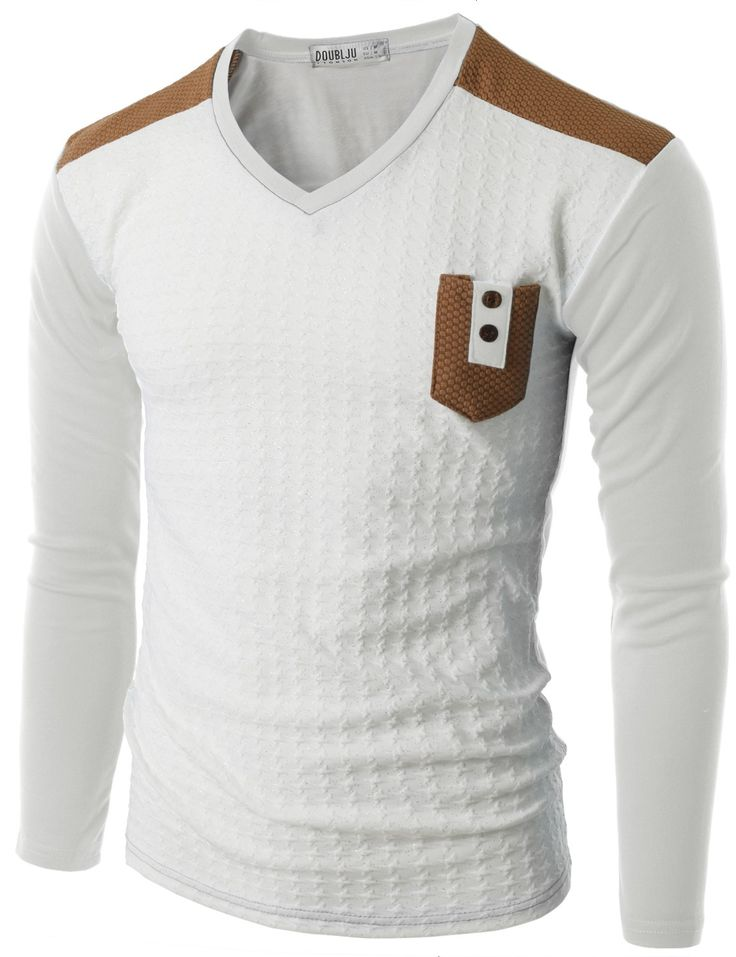 Doublju Men's Long Sleeve Baseball T-Shirt with Pocket (CMTTL011) #doublju
