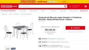 [Americanas.com] Conjunto de Mesa de Jantar Genebra + 4 Cadeiras Alicante - Branco / Preto Floral - Fabone - de R$ 359,03 por R$ 302,93…