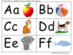 FREE printable ABC Pocket Chart Cards and/or puzzles.