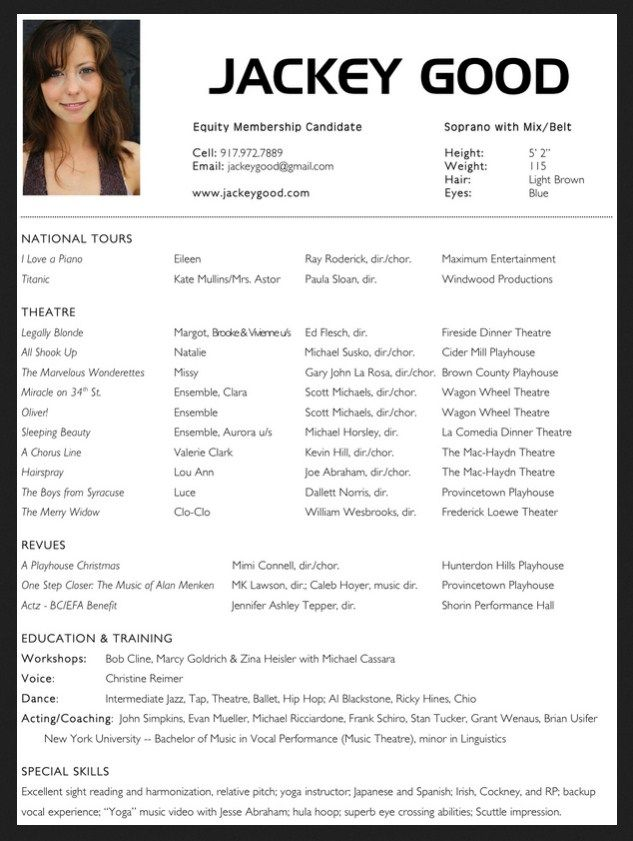 acting resume template templates for beginners with picture musical theatre free