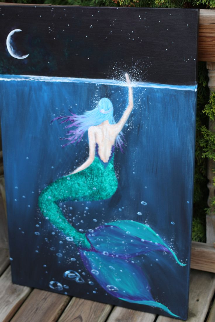 A personal favorite from my Etsy shop https://www.etsy.com/ca/listing/551715704/touch-of-moonlight-mermaid-painting