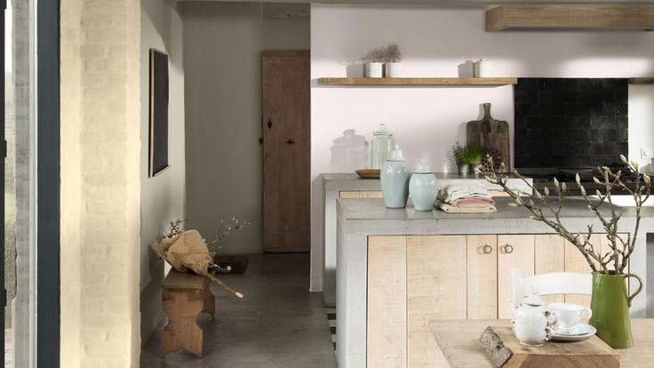 Ambiance hedendaagse romantiek keuken basalt tule ivoorbeige warme tinten woning online - Hedendaagse vloer ...