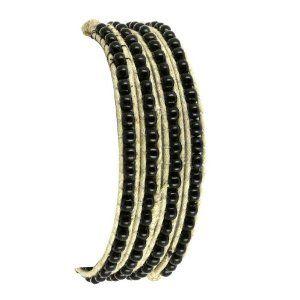 Bracelet corde blanche et perles noires - Bijou fait main: ShalinCraft: Amazon.fr: Bijoux