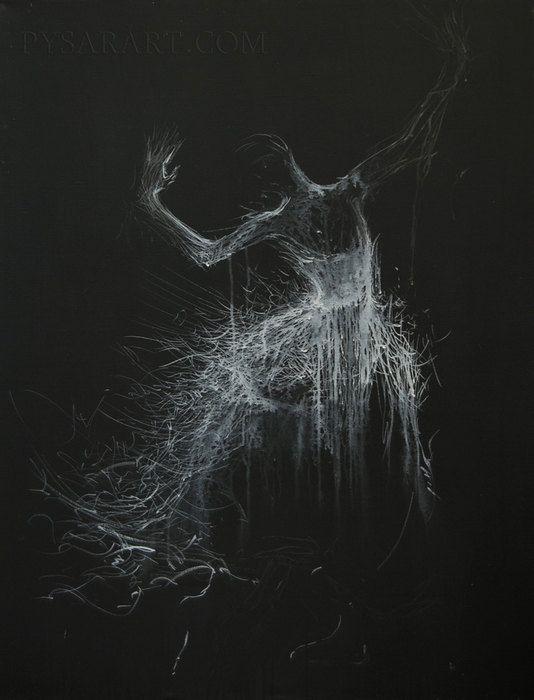 Black  White Canvas Art - Giclee art print poster of original ballerina painting by Yuri Pysar