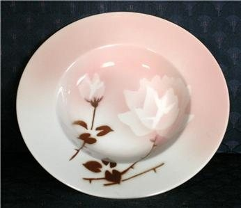 Syracuse China Madam Butterfly Restaurant Rimmed Soup Bowls. Half-moon Shadowtone featuring negative stenciled rose and bud, with stems and leaves in brown.