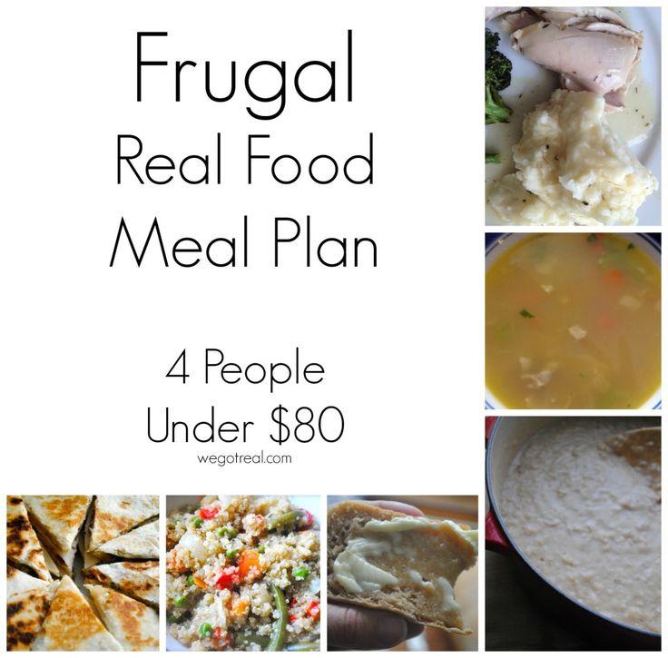 FRUGAL REAL FOOD MEAL PLAN  - 4 people under $80