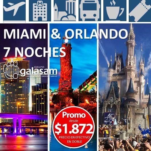 ORLANDO  MIAMI CLÁSICO 7 NOCHES (SALIDAS CONFIRMADAS) ________________________________________   SALIDAS desde julio a septiembre. INCLUYE:    Boleto aéreo desde GYE y UIO (consultar salidas y aerolínea que opera).  Traslados aeropuerto Miami  hotel Orlando  hotel Miami - aeropuerto Miami.  Asistencia personalizada en aeropuerto y hoteles.  02 (DOS) noches de alojamiento en Miami según hotel seleccionado.  Desayuno continental diario e impuesto hotelero incluido.  City Tour  Paseo en Yate…