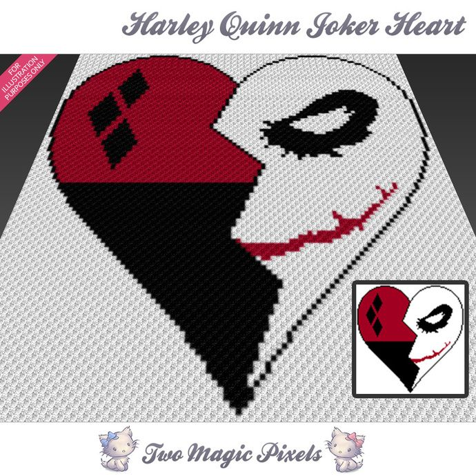 Harley Quinn Joker Heart crochet blanket pattern; c2c, cross stitch; graph; pdf download; no written counts or row-by-row instructions by TwoMagicPixels, $3.99 USD