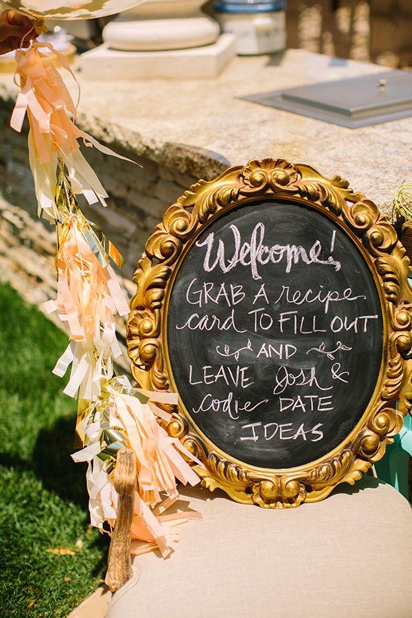 blank beach bridal shower invitations%0A Backyard Bridal Shower in Peach and Gold
