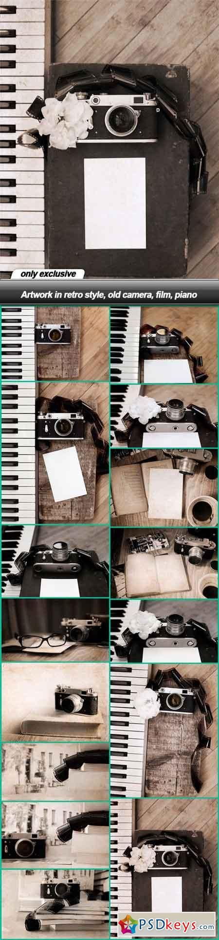 Artwork in retro style, old camera, film, piano - 15 UHQ JPEG