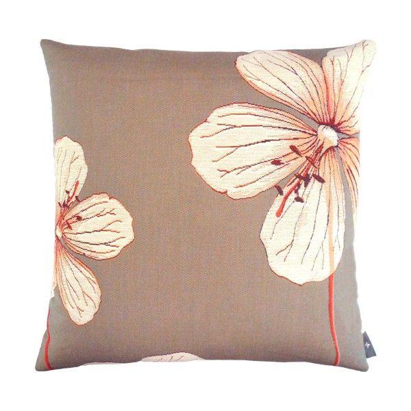 Coussin gris perle fleurs Géraniums des prés, rouges - Coussins - Art de Lys