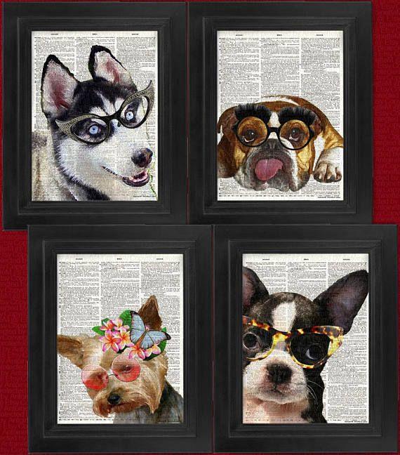 Perritos con gafas, 4 set / genuino arte Diccionario antiguo ________________________________________________________ Ver más cool y fino imprime aquí en mi tienda... http://www.etsy.com/shop/HelloUwall  COMPRA 2 artículos de impresión de libro, 1 imprimir gratis! O *** compra 3 artículos impresión de libro, 2 impresiones gratis! *** Por favor nota, este tema cuenta como un elemento. Todos los sistemas cuenta como un elemento.  Para obtener el acuerdo, compra al menos...