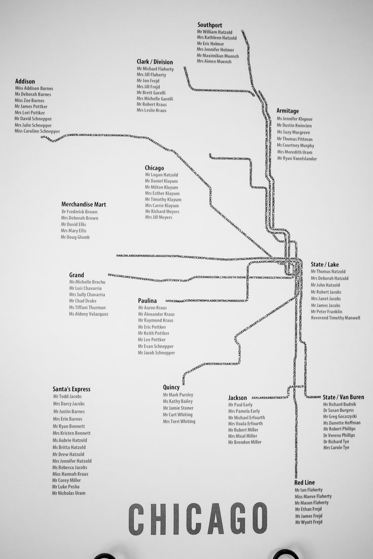 Chicago train map as seating chart Photography