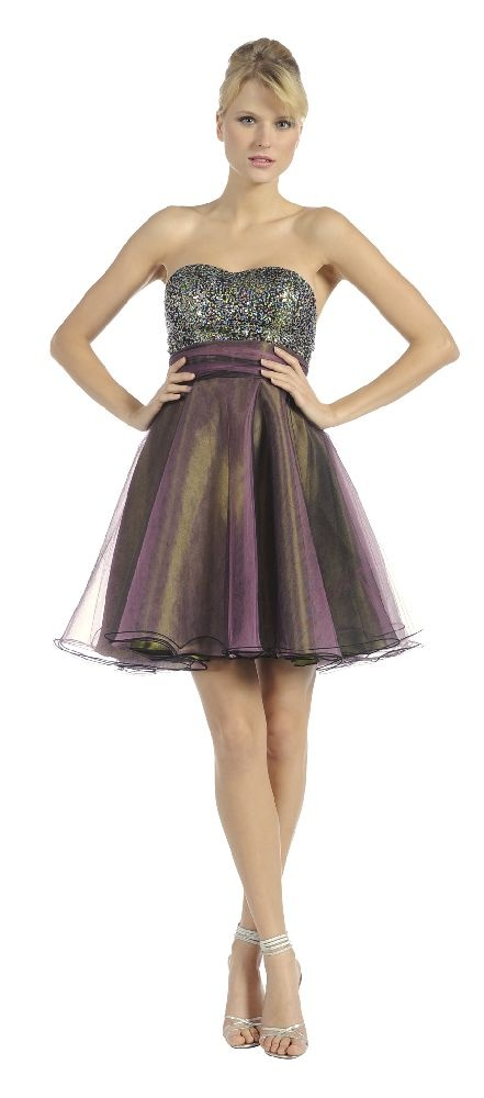 Purple/Green Tulle Skirt Prom/Homcoming Dress Sequin Strapless Top Empire $99.99