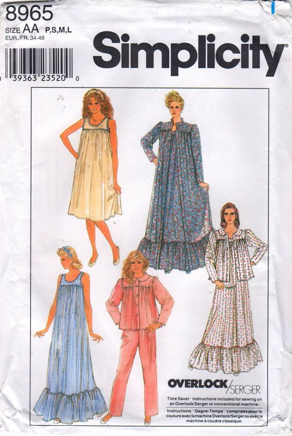 simplicity 8310 8965 1980s misses pullover nightgown robe bed jacket pajamas pattern womens