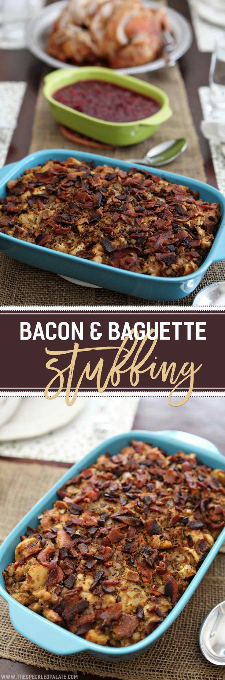 A spin on traditional French bread stuffing, Bacon and Baguette Stuffing is sure to be a hit at this year's Thanksgiving table! This decadent stuffing dish calls for day-old baguettes and bacon, as well as onions, carrots, celery, garlic, fresh herbs, cheese and broth. Bake in a separate baking dish, topped with bacon crumbles, until the stuffing is cooked. Serve with turkey and other traditional Thanksgiving side dishes for a delicious meal!