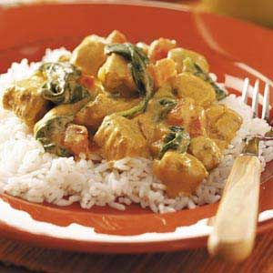 Curry Chicken Recipe - I added raisons and water chestnuts, left out spinach - the family loved it!