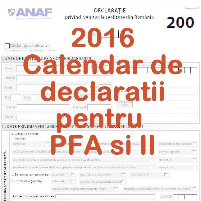 Afla ce declarații trebuie sa depunăîn 2016 o persoană fizicăautorizată, indiferent de forma de organizare – PFA, II sau IF. Declarații depuse de PFA impozitatăla normă de venit: Declarați…
