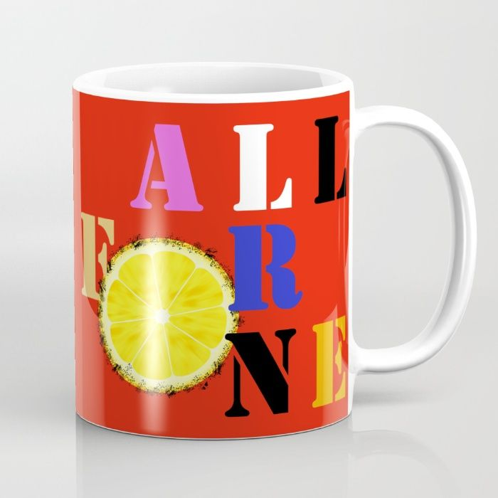 All For One - Mug #red #lemon #tea #coffee #mine #allforone #allforme #musketeers #letters #typography #stencil #sliceoflemon #mugs #society6 #society6mugs #kitchenwear #coffeebreak #drink #cups #art #design
