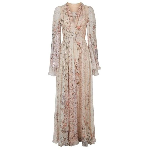 Etro Floral Silk Peasant Gown ($7,130) ❤ liked on Polyvore featuring dresses, …