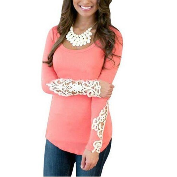>> Click to Buy << Echoine Women Long Sleeve Lace Crochet T-Shirt Embroidery Scoop Neck Slim Tops Plus Size 3 Colors Poleras De Mujer #Affiliate